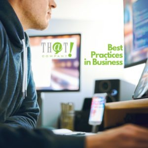 Man working at a desk with that company logo - readsBest Practices in Business