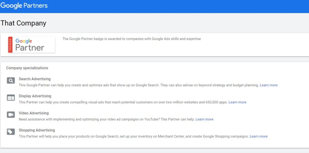 Google Partner Search Example