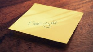 sorry on a sticky note