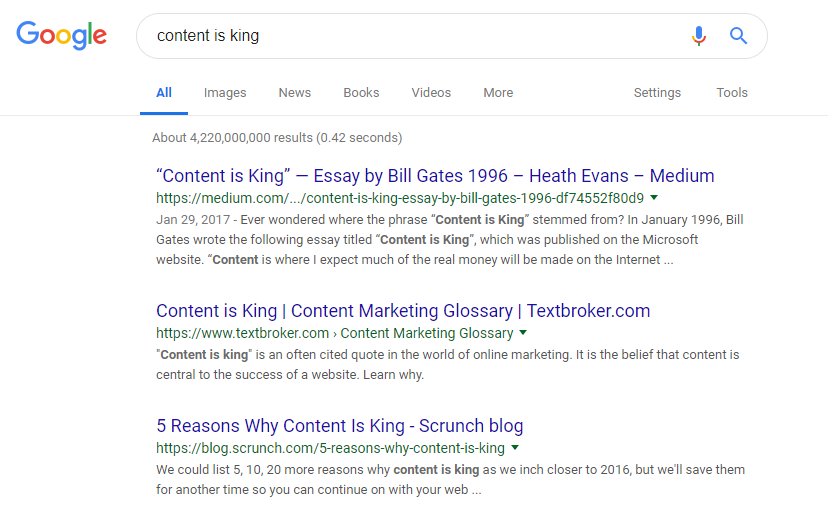 screenshot of google ranking, the title are what stick out the most