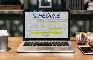 Schedule on computer showing scheduled time