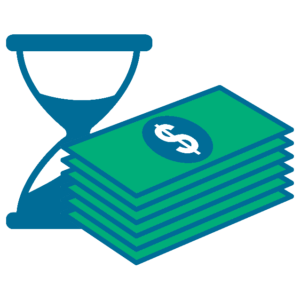 hourglass next to money - work on the task you are assigned
