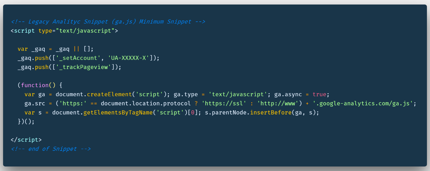 legacy analytic's code snippet