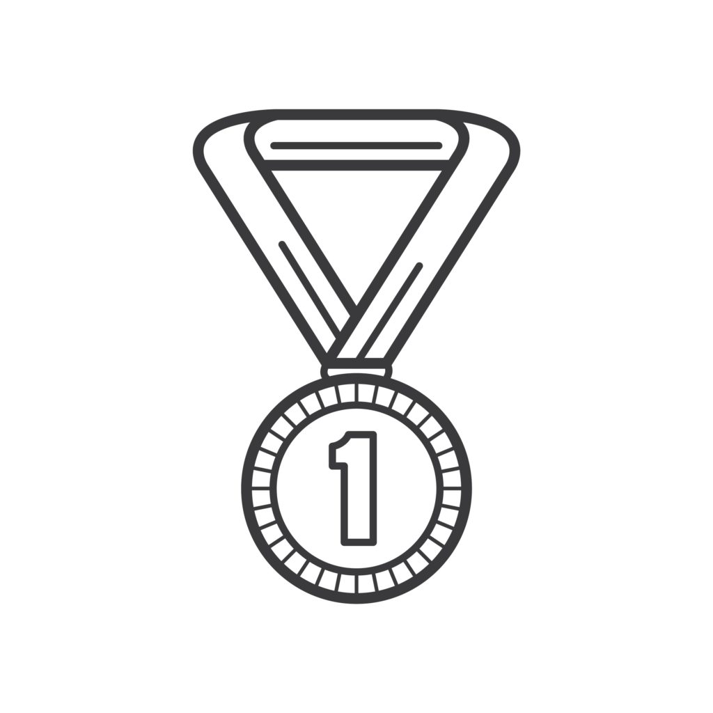 number one medal black and white graphic