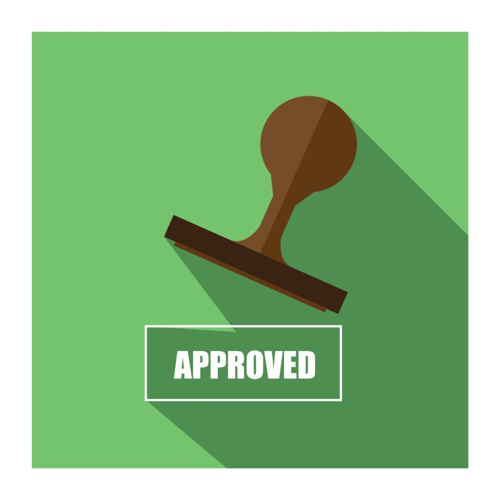 approved green graphic with stamp