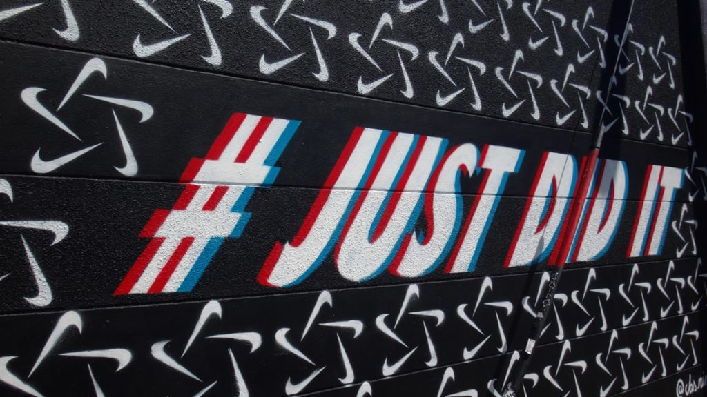 hastag just did it spray mural on wall