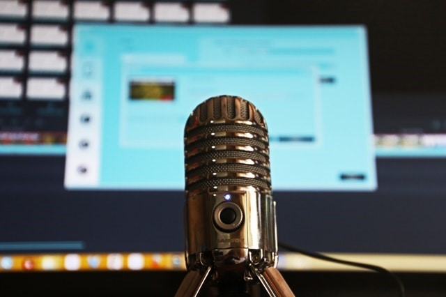 microphone in front of screen