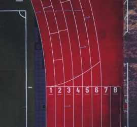 ariel view of a running track course