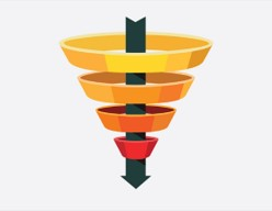 Funnel graphic spiraling down with arrow