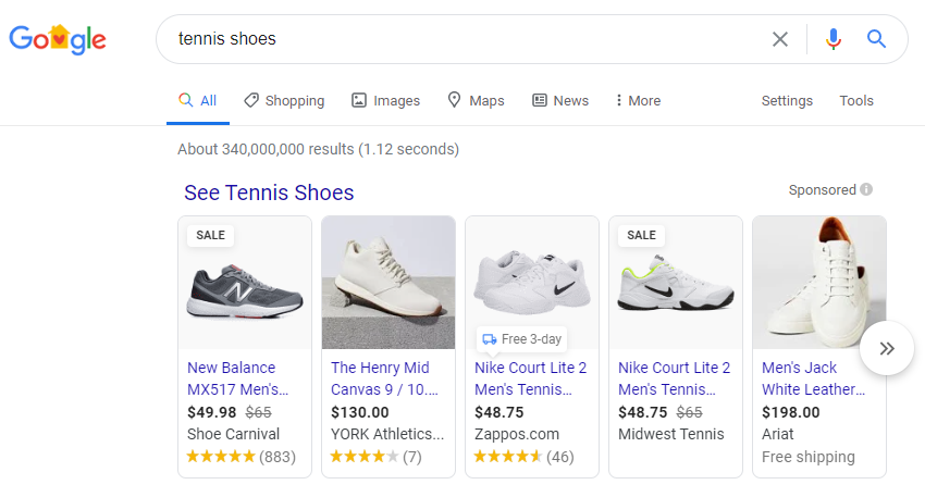 Google Shopping in SERPS