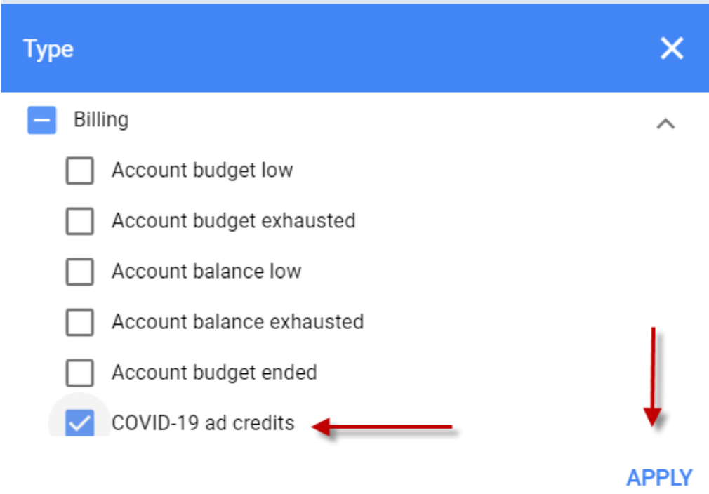Step 4 to Find Google Ad COVID credits