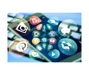 Paid Search Advertising   Phone with Social Media Floating Icons