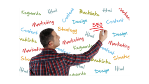 Relevant Parts of Google Search | Man Writing the Parts of SEO