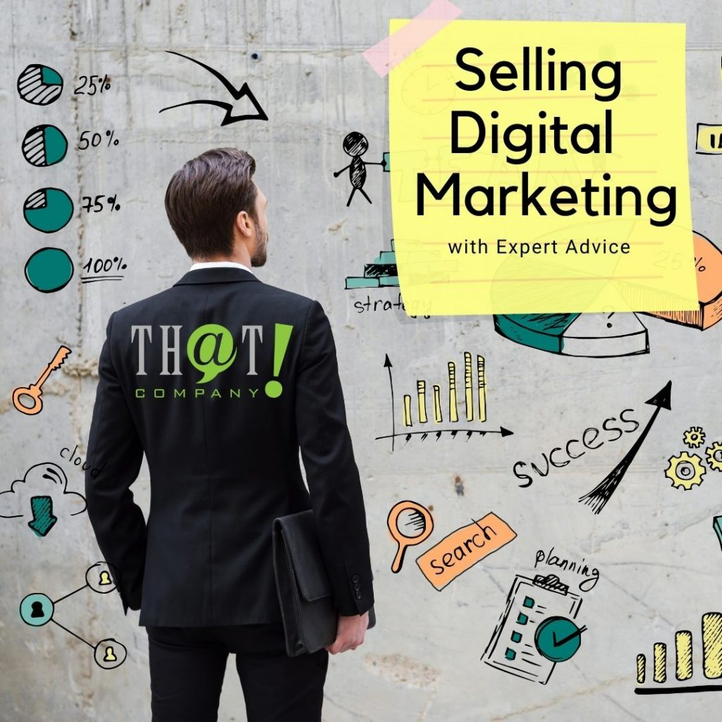 Selling Digital Marketing | Business Man Looking at Cartoony Charts and Graphs
