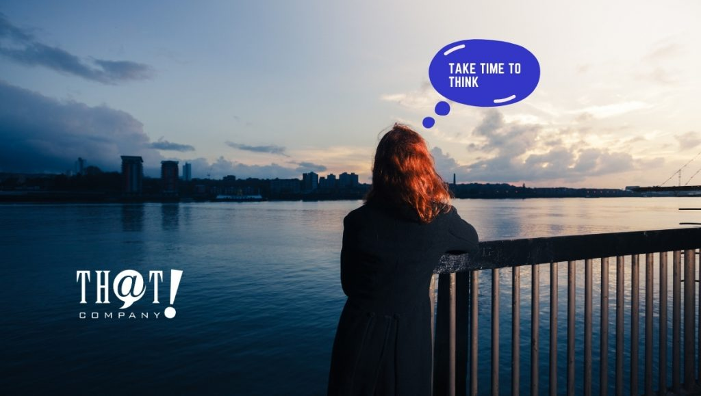 Take Time to Think about Your Online Marketing | Girl Looking at Water With Thinking Bubble Over Head