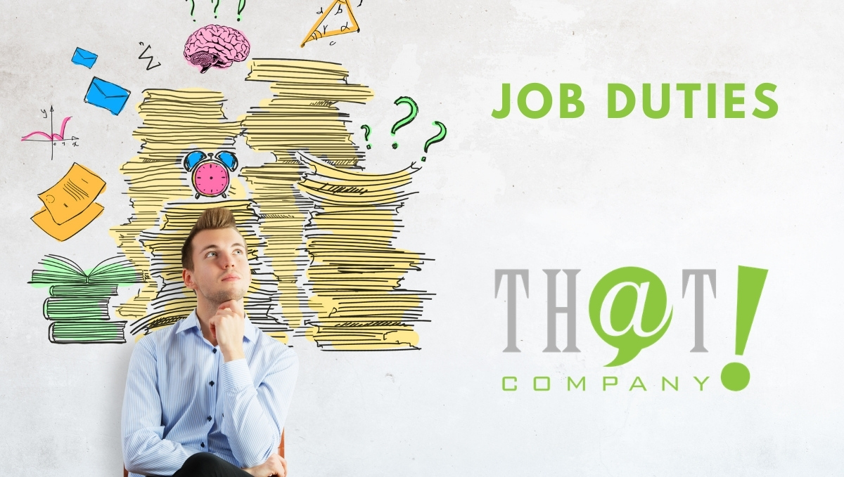 Job Duties Of A Receptionist | Man Thinking With Drawings Behind Him