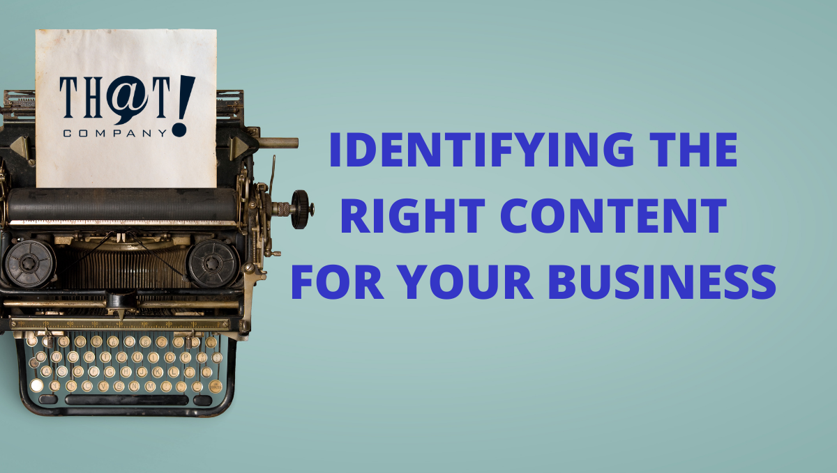 Identifying the Right Content for Your Business | Imageof a Typewriter and Text