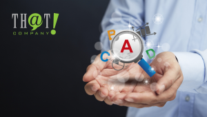 Digital Advertising Keywords | Hand with virtual floating Letters and Magnifying Glass
