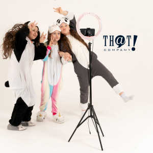 TikTok Has A Young Demographic   Three Young Girls Posting For A Camera