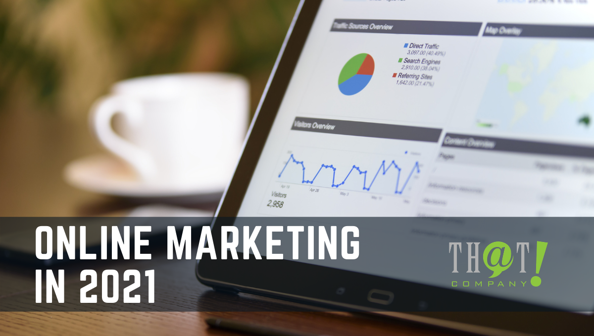 Online Marketing in 2021 | A tablet showing a pie and line graph