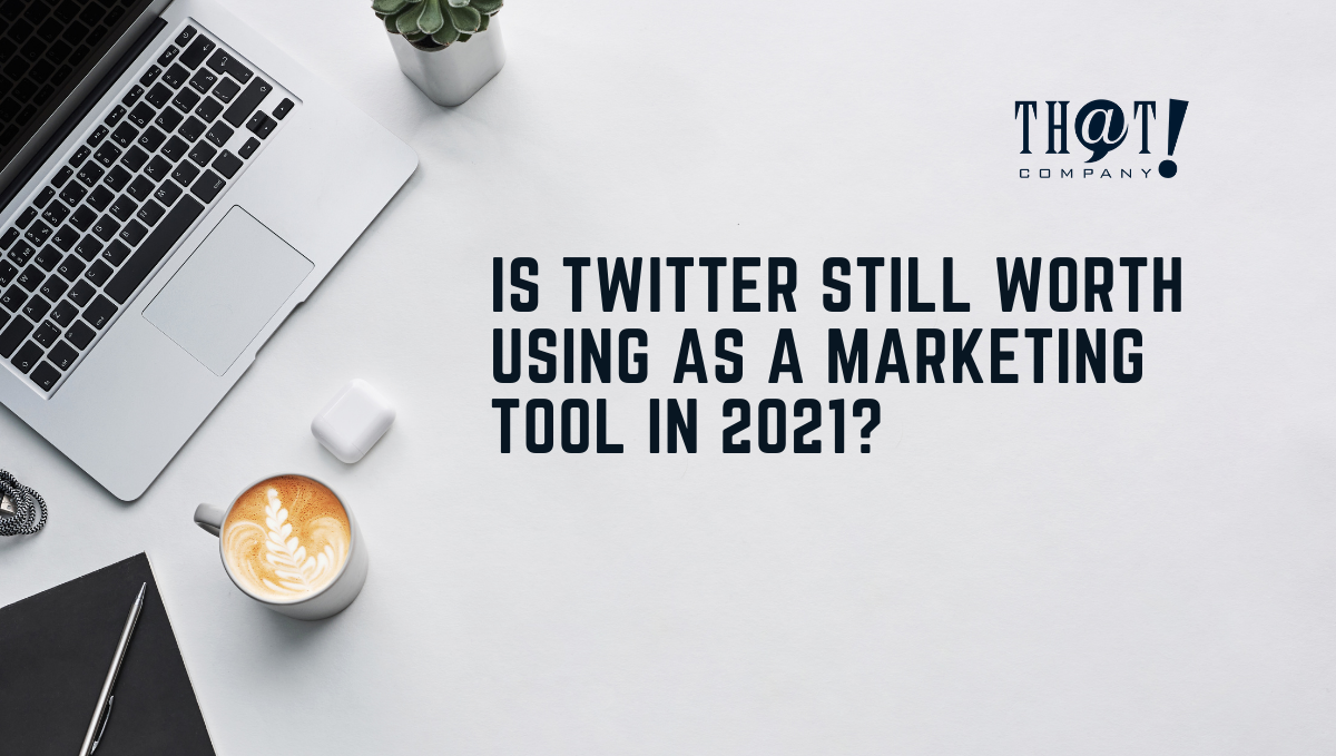 Twitter Marketing | An Office Desk With Laptop, Air pods, Coffee, Notebook and Pen With Plant On The Side