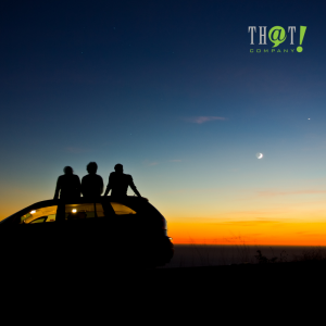 Emotional Hooks For Content Writing | A Silhouette Of Group Of Friends Sitting On Top Of A Car Watching The Sunset