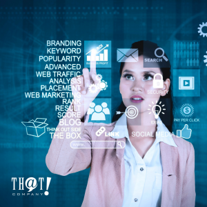 Search Engine Optimization | A Girl Pointing At A Hologram Icons for SEO Related Topics