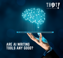 AI Writing Tools For Content Writing | A Hand Holding A Tablet Showing A Brain Hologram
