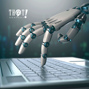 AI Writer | A Hand of A Robot Typing On a Laptop