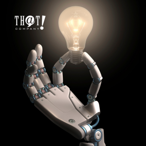 AI Written Contents and Ideas | Hand Of A Robot Holding a Light Bulb