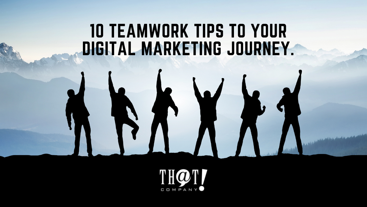 Digital Marketing Teamwork   Silhouette of 5 People Raising Their Hands As A Sign of Success.