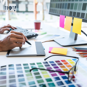 5 Colors from the Internet Marketers Perception | a Hand Drawing In a Tab with A Copy of Different Color Swatches on the Side