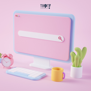 Contrast and Brightness | An Icon of and Office Table with Desktop, Mug, Plant and Alarm Clock