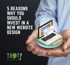 Invest In Web Design | A Hand Holding A Hologram Laptop Icon With Web Tabs in the Screen