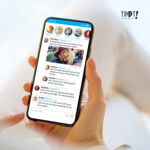 Social Media Advertising  A hand Holding A Phone Showing A Twitter Dashboard