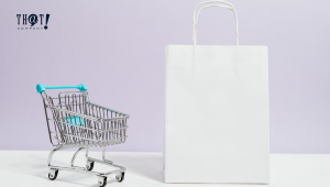 The Product or Service Your Business is Selling. | A Small Cart with White Paper Bag On The Side
