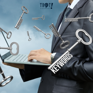 Keyword For Campaign Optimization | A Man Holding A Laptop While There are Some Keys Floating Around Him With The Word Keyword