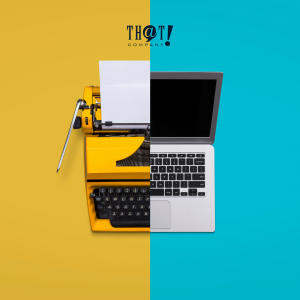 Manual vs. Advanced | Half Image of A Typewriter While The Other Half Is a Laptop