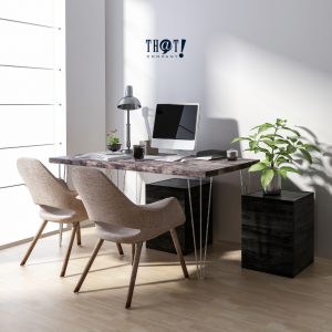 Layout   A Desk Set-Up Beside A Big Window With Plant on The Side