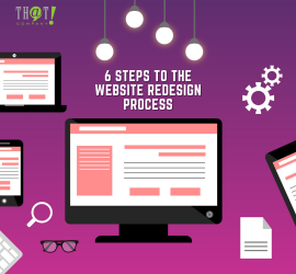 Website Redesign Process | Icons Of Laptop, Mobile Phone, Tablet and Desktop With Keyboard Eyeglasses Etc.